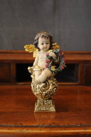 Statuetta d'angelo in Resina - Angelo Antique piedistallo - Statue di angeli