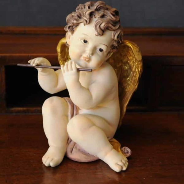 Statuetta d'angelo in Resina - Angelo Flauto - Statue di angeli