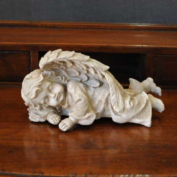 Statuetta d'angelo in Resina - Angelo bianco sdraiato - Statue di angeli