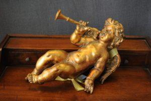 Statuetta d'angelo in Resina - Angelo Gold Trumpet - Statue di angeli
