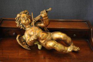 Statuetta d'angelo in Resina - Angelo Gold Violin - Statue di angeli